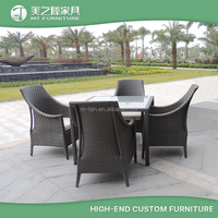 Modern aluminum rattan wicker outdoor furniture 4 seaters dinning set table and chair