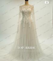 Mermaid Rhinestone Long Jacket Bolero Wrap Bridal Gown Wedding Dress Chapel Train bridal Gown
