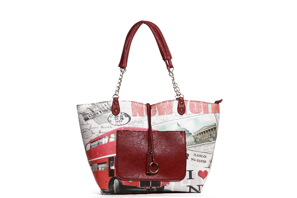 2017 American Fashion Printed Leather Tote Bag Shoulder Bag with Front Pocket for Ladies