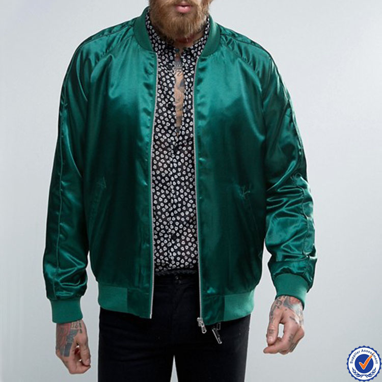 2017 new fashion men custom plain green satin bomber baseball jacket