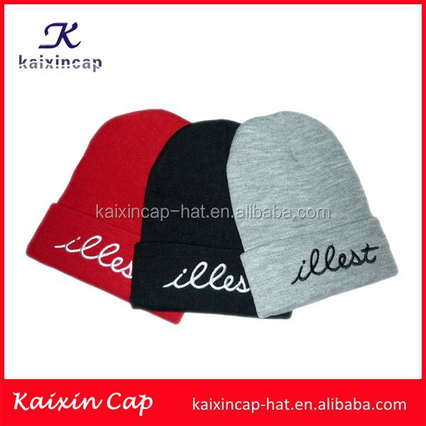 wholesale promotional OEM hot sale high quality wool design your embroidery logo blank 100% acrylic beanie hat knitting