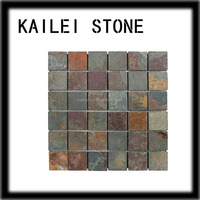 Gold textured mosaic kitchen wall tile/ slate stone/natural fossil stone tile