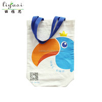Hot Fashion Recycle Organic White Parrot Cotton Canvas Shopping Tote Bag Hangbag wholesale promotion