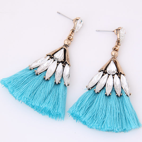 2017 New Fashion tassel earrings with rhinestones MOQ 12pairs mixed colors WY11030491