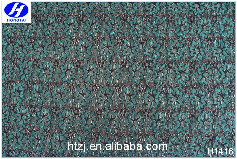 Hongtai welcome fancy green flower spandex lace fabric dubai wholesale in china