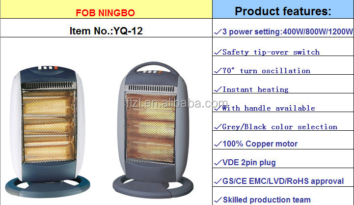 400W/800W/1200W/1600W electric halogen heater