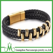 Best Selling Item Stainless Steel Mens Genuine Leather Braided Cuff Bracelet Jewelry Gold Black Color