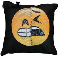 2018 high quality Mermaid pillows reversible sequin Emoticon pillow emoji case