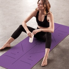 TPE yoga mat double layer color Eco friendly promotional custom brand with yoga bag