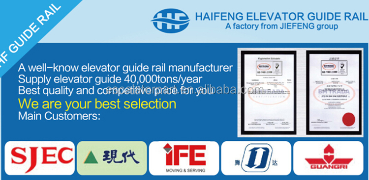China High Quality T70 T82 T90/B T45 TK3A Elevator Guide Rail Bracket Elevator Guide Rail