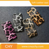 Luxury ultra thin leopard grain pu+pc back cover leather phone case for iphone 5 5s