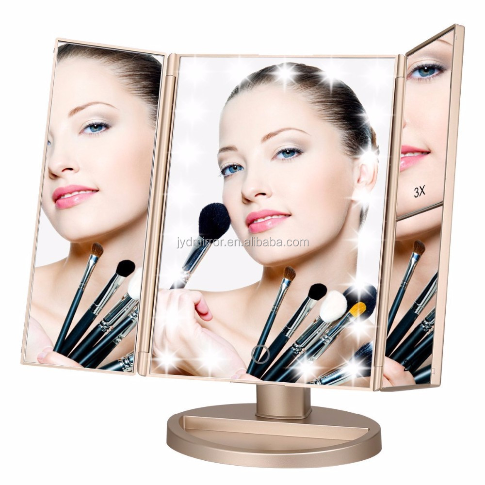 Tri Fold Lighted Makeup With Improved Bright Led Lights 1x