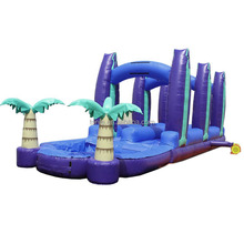 Custom commercial dual lane palm tree theme inflatable slip n slide, used inflatable water slide for sale