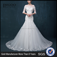 MGOO New Custom Size White Colored Wedding Dress Long Sleeves Muslim Sheer Empire Ball Gown Brides Dress 2055