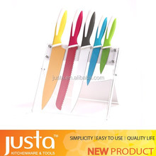 5pcs colorful nonstick coating knife with knife horder Kitchen Set