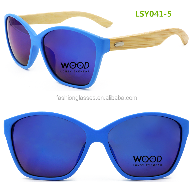 blue frame blue mirror polarized lens pc bamboo sunglasses with your logo