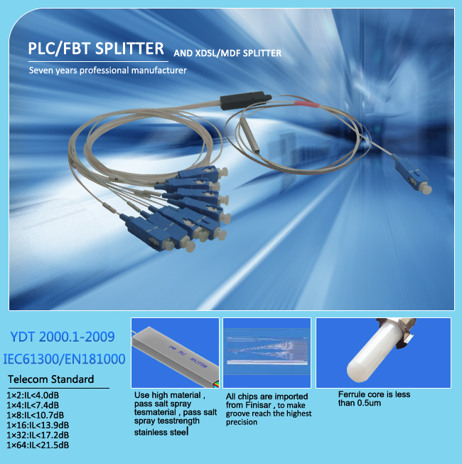 SC/APC 650nm 90/10 splitting ratio Multimode FBT splitter