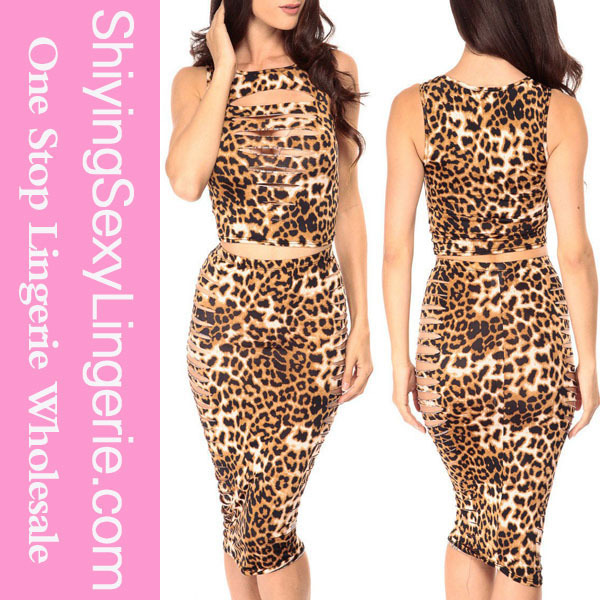 Fashion Wholesale Wild Leopard Shredding quinceanera dresses with detachable skirt