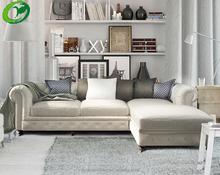 American countryside Linen fabric button corner sofa/sectional two seater and chaise sofa furniture