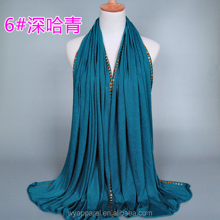 Factory supply wholesale long plain color modal metallic muslim cotton hijab <strong>scarf</strong>