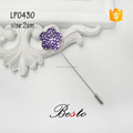 High-grade purple flower shape crystal lapel pin for business gift
