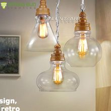 LOFT American country style indoor aquarium shaped hanging glass pendant light