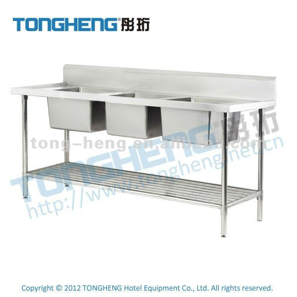 Stainless Steel Triple Sink Unit