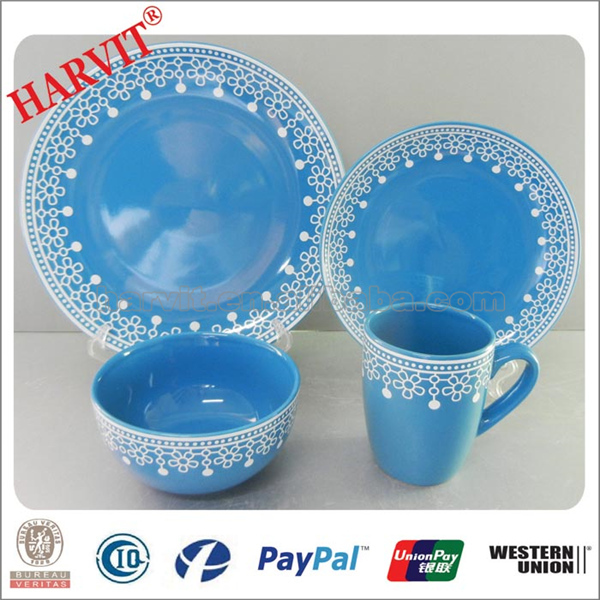Wholesale 16pcs Stoneware Dinnerware set with Christmas Decoration, Blue/Yellow/Red Colorful mexican Ceramic Dinnerware Set