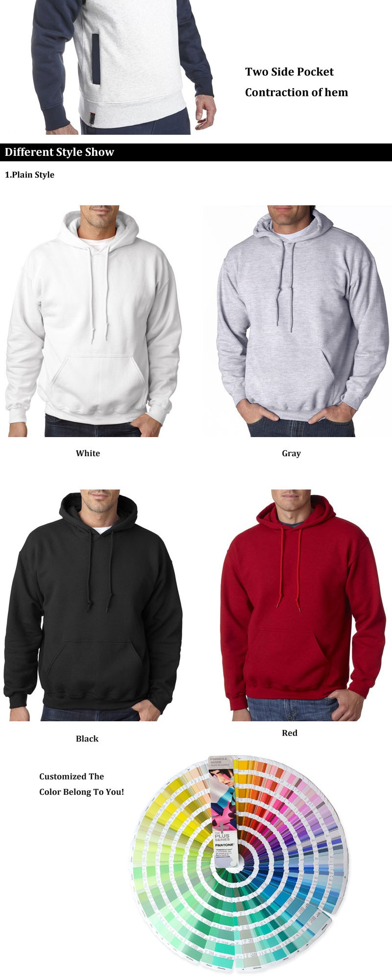 Winter Men Hoody Sweater Custom Hoodies Wholesales 100% cotton fleece hoodies men