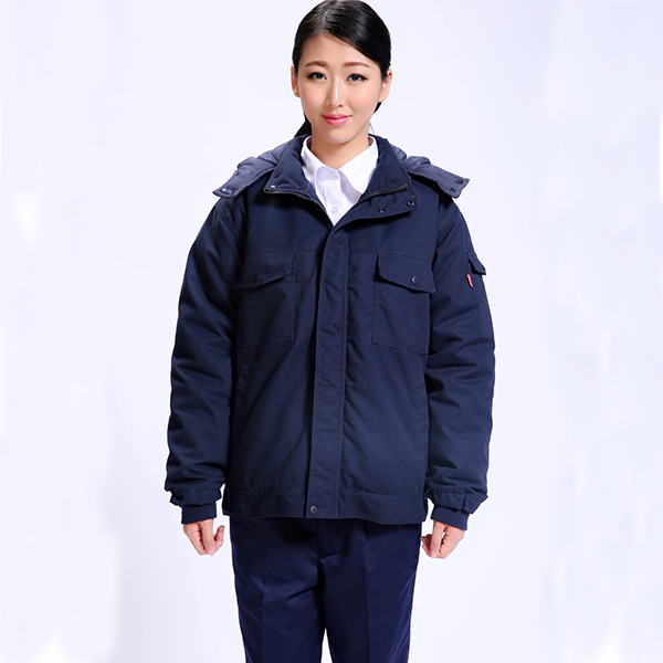 Cotton Navy Blue Anti-Static Winter Work Jacket For Industry Use