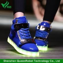 LED Luminous Shoes Sneakers High Top Fashion LED Shoes with Wihte & Black