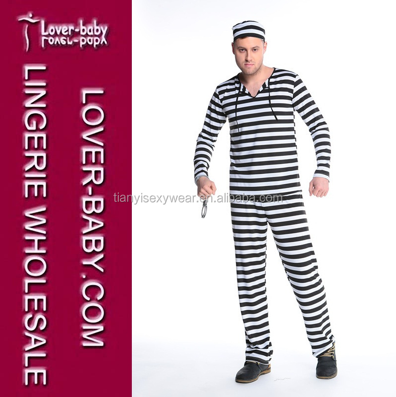 Casual Striped Prisoner Uniform Suit Costume Halloween Carnival Cosplay Costumes Men Fancy Dress Party Men's Costume L15314