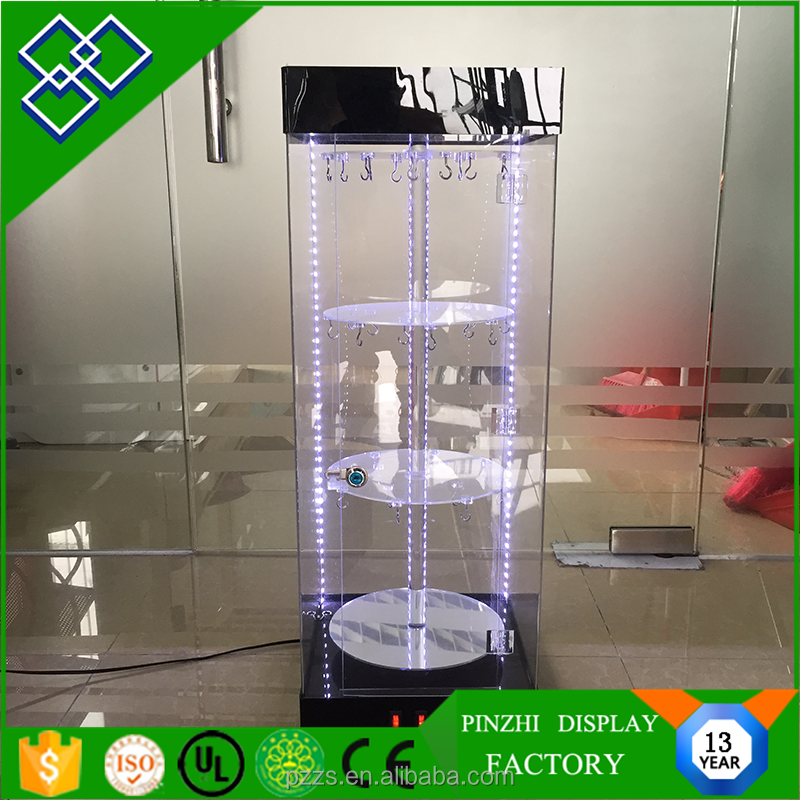 LED Lighted Locked Acrylic Rotating Display Stand/Acrylic Jewelry Display/Acrylic Display Cabinet
