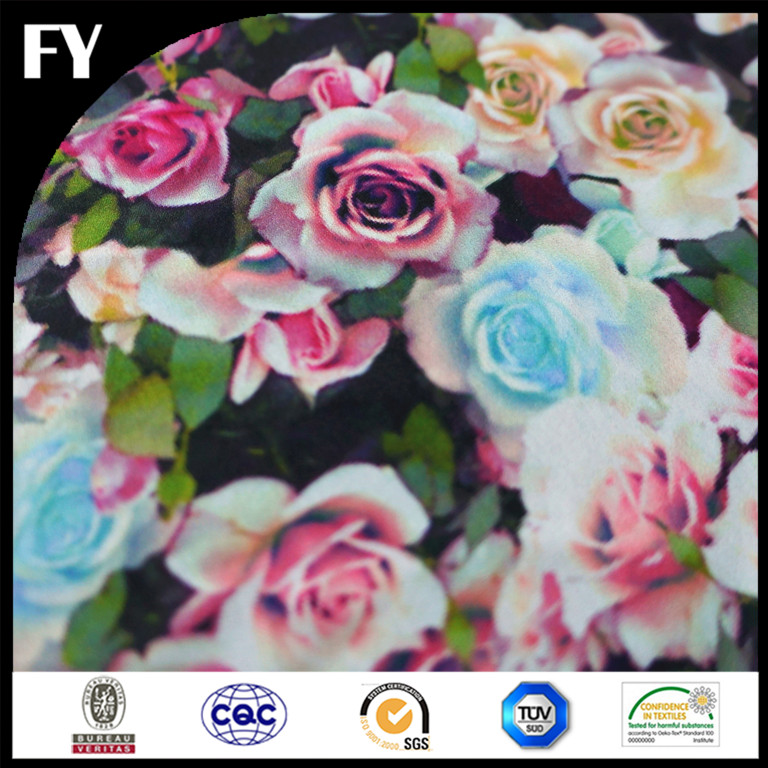 Custom digital printed silk floral dress fabric