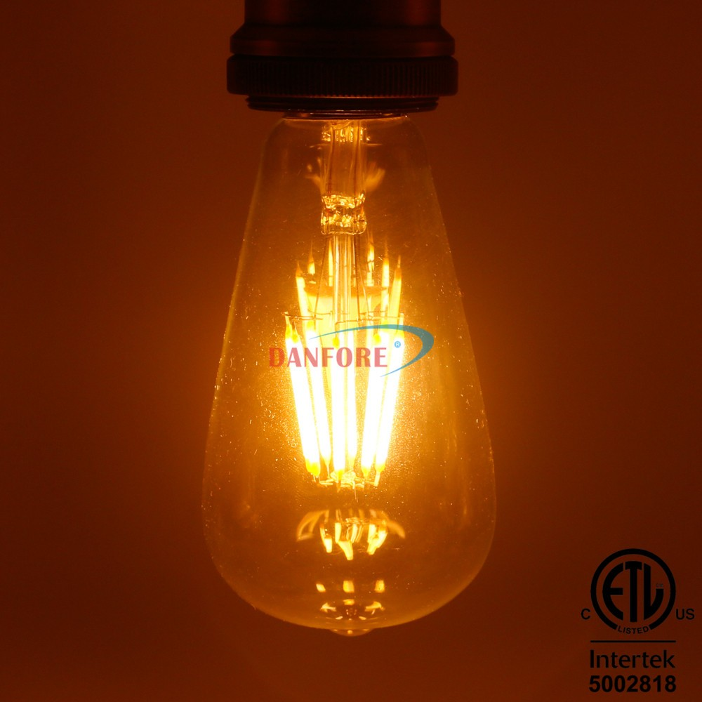 3.5W 5W 6.5W Vintage filament led ST64 led bulb with glass cover CE ETL approved