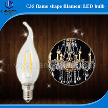 E12 Dimmable 4 Watt LED Filament Candelabra Light Bulbs 40 Incandescent Replacement, Warm White 2700K Chandelier Flame Tip, Cl
