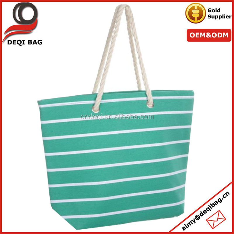 hot sale promotional korea style white and green stripe polyester fahion tote bag lady beach bag with rope strap