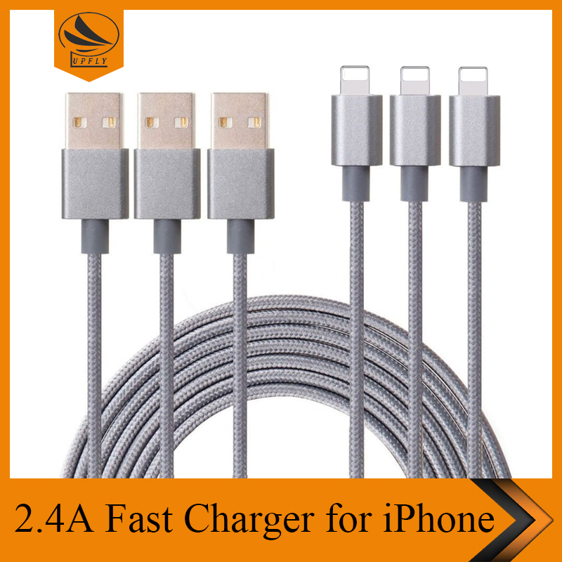 Braided nylon 8 pin connector data USB <strong>cable</strong> for iphone7, 3ft 6ft 10ft custermize fast charging phone <strong>cable</strong> for iphone 6 7 plus