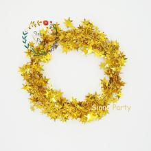 Gold Star Shining Tinsel Wreath Ribbons for Birthday Decoration Party Decoration Harvest Festival