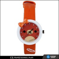 cartoon character strap watch PU leather kids watches , hello kitty watch