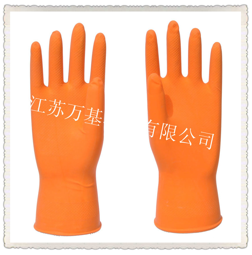 Orange Dish Washing Rubber Gloves/Dish Cleaning Gloves