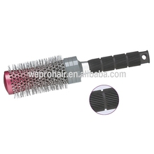 New products soft bristle plastic round hair brush with concaved barrael