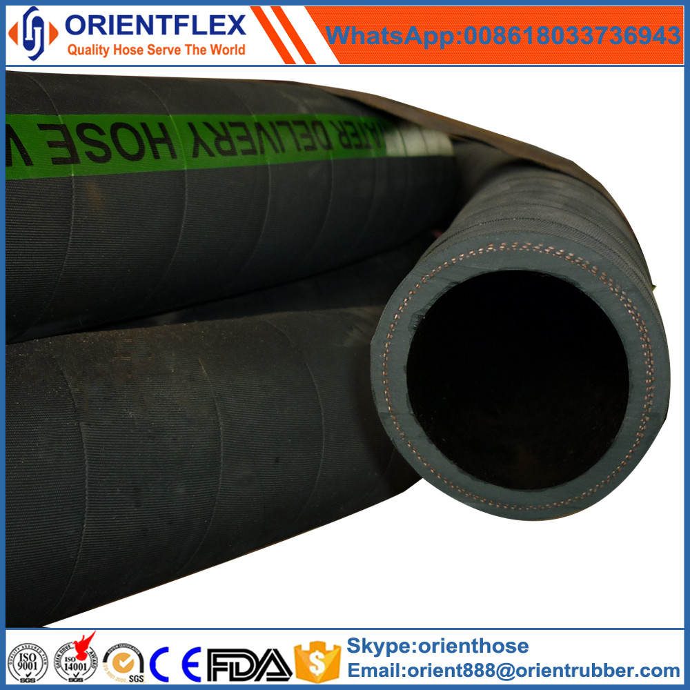 Construction black rubber water suction and discharge hose