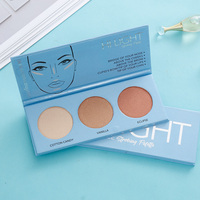 Private Label Factory Supply Wholesale 3 Color Makeup Pressed Highlighter Face Powder Palette