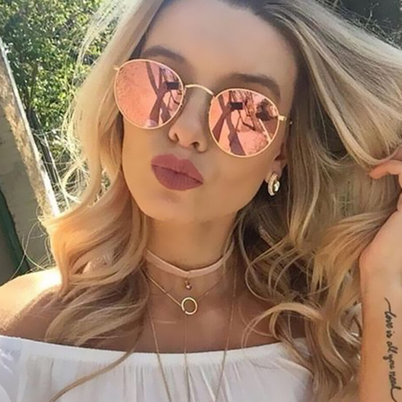 3447 Vintage Round Sunglasses Women Brand Designer Retro Sun Glasses For Women Men Lady Female Sunglass Mirror