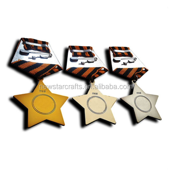 Custom metal star shape award souvenir military medals with ribbons