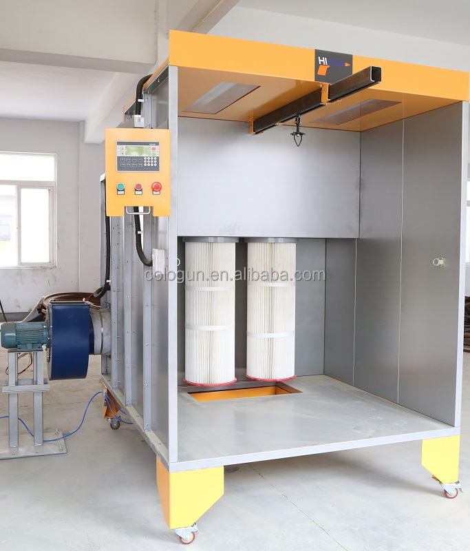 Manual powder coating spray booth with polyester recovery for Powder coating paint booth