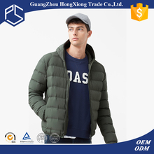 Gungzhou High Quality Green With Hoodie Customize Duck Feather Filler Plain Men Winter Coat