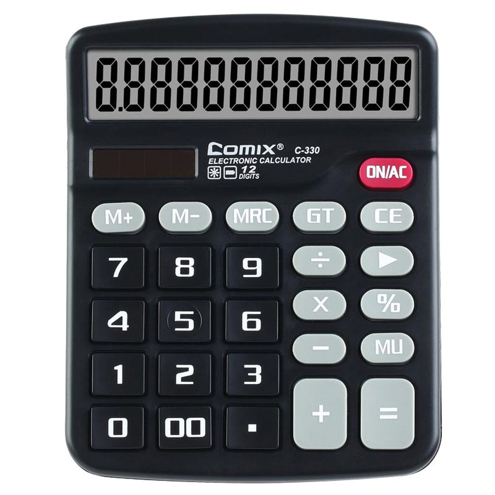 Comix C-330 Standard Function Desktop Calculator 12 Digits Solar and Battery Dual Power for School Office Home