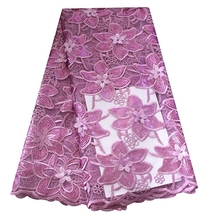 Latest New Arrival Lilac sequins African Embroidered Textile Beaded 3D Lace Fabric For Wedding Dress